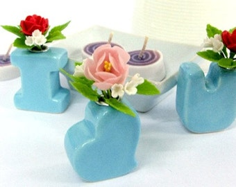 Alphabet Ceramic, I love you, and bunch of roses, set of 3 pieces