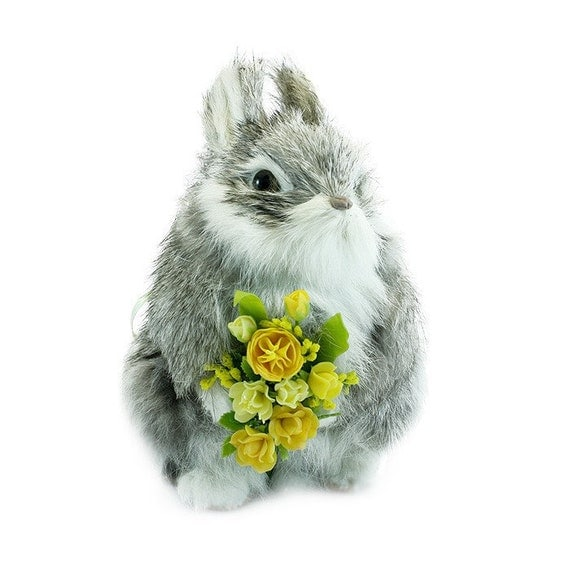 Silver Gray Rabbit with Sunshine Roses Bouquet, fur animal