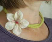 Felted Flower Necklace/Bracelet in White and Green