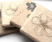 Floral Stamped Tile Coasters - Set of 4