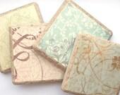 Elegant Papered Tile Coasters - Set of 4