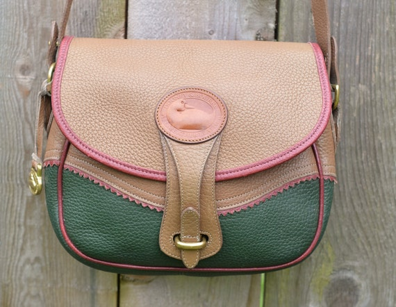 Rare Vintage Teton Taupe and Green Dooney & Bourke Leather Satchel Purse