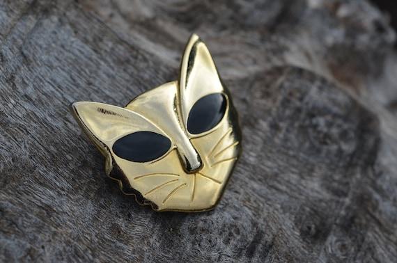 Vintage Gold-Tone Mod Kitty Pin Brooch