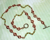 Copper Spring Lightning Necklace / green crystals, gold beads, copper wire, coppre toggle