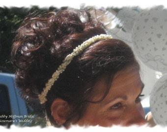Pearl Wedding Headband, Pearl and Satin Ribbon Bridal Headband, Pearl Beaded Headband, Wedding Accessories, Pearl Wedding Headband