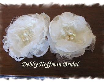 Wedding Hair Flowers, Wedding Hair Accessories, Bridal Flower Hair Clips, Bridal Flowers with Pearls & Swarovski Crystals, No 1002FS2.5