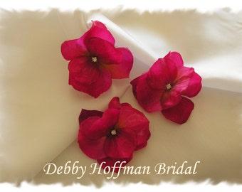 Flower Wedding Bobby Pins, Pink Hydrangea Bridal Flower Hair Pins, Pink Floral Hair Pins, Bridesmaid Hair Flowers with Rhinestone, Set of 3
