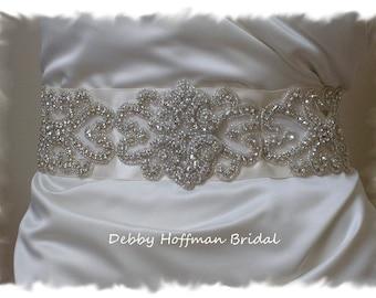 Bridal Sash 30 Inch Rhinestone Wedding Dress Sash Beaded