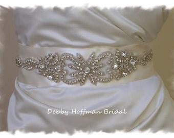Beaded Rhinestone Crystal Bridal Belt, Rhinestone Bridal Sash, Jeweled Wedding Sash, Vintage Style Wedding Dress Belt, No. 1126S2041-2.25