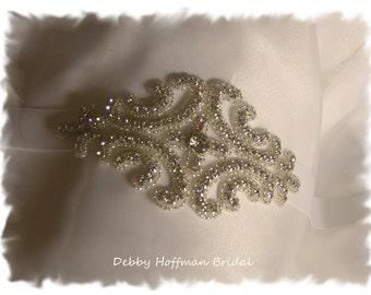 Wedding Headpiece, Bridal Ribbon Headband, Crystal Beaded Bridal Headband, Vintage Style Headpiece, Silver Bridal Hair Piece,  No. 1101HB