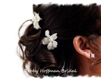 Bridal Hair Flowers, Ivory Bridal Flower Hair Pins, Floral Wedding Bobby Pins, Set of 6, Floral Head Pins, Wedding Hair Flowers, Flower Hair