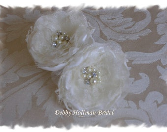 Wedding Shoe Clips, Bridal Flower Shoe Clips, Bridal Shoe Clips, Pearl & Rhinestone Flowers, No. 1010FSPR2, Wedding Accessories, Shoe Clips