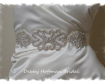 Silver Beaded Rhinestone Crystal Bridal Belt, Sash, Jeweled Wedding Dress Belt, Sash, No. 2015S1171-2, Wedding Accessories, Belts, Sashes