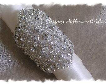 Rhinestone Bridal Bouquet Wrap, Beaded Crystal Wedding Bouquet Wrap, Wedding Bouquet Cuff, Cuff Bracelet, No. 2061BW, Jeweled Bouquet Wrap