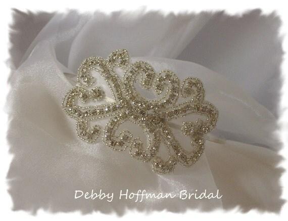 Rhinestone Wedding Headband, Silver Beaded Rhinestone Crystal Bridal Headband, Rhinestone Headpiece, Wedding Hair Accessories No. 2011HB