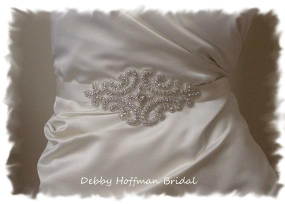 Rhinestone Bridal Sash, Beaded Rhinestone Crystal Bridal Belt, Jeweled Wedding Dress Sash, Wedding Bridal Sashes and Belts, No. 1101S