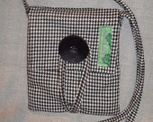 Small, Black and white, Wool-blend, Houndstooth Asta Bag