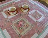 SHABBY CHIC Quilted Table Topper - Pink