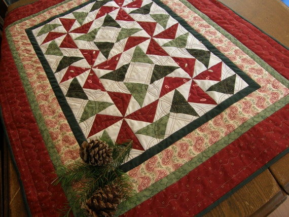 Holiday Pinwheels Traditional Quilted Table Topper