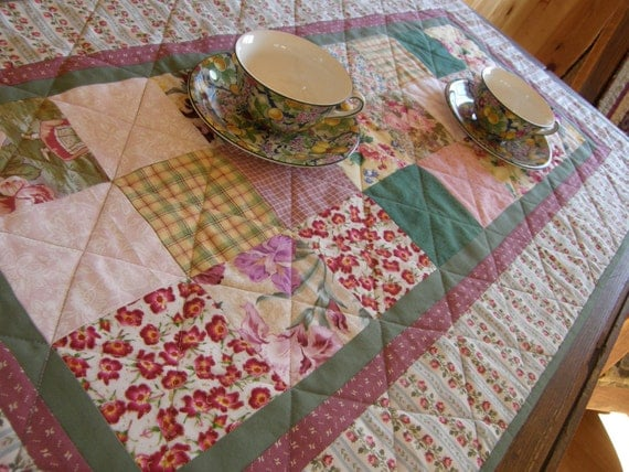 Cottage Chic Quilted Patchwork Table Runner