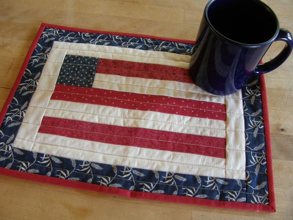 AMERICAN FLAG Quilted Mug Rug or Candle Mat