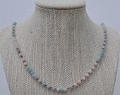 Blue Amazonite Gemstone Cord Necklace