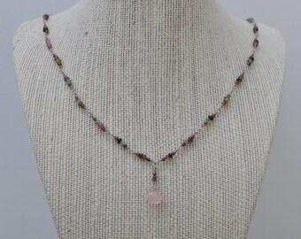 Watermelon Tourmaline, Garnet and Rose Quartz Pendant Necklace