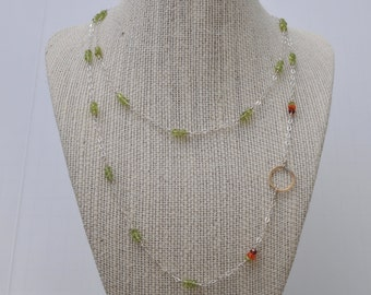Peridot, Garnet, Carnelian and Gold Circle Necklace