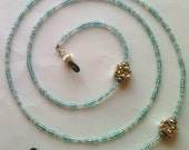 Owl multi blue Beaded Eyeglass Chain  silver charm