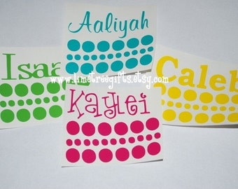 Set of FOUR - Vinyl Names & Polka Dots - Set of Four - Yeti Tumbler Decals