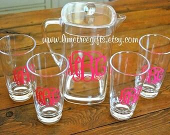 ACRYLIC Monogram Gift Set - 4 Glasses & Pitcher - Wedding Gift