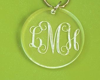 Monogram Key Chain - Engraved Acrylic Keychain