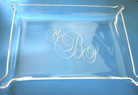 ENGRAVED Large Acrylic Jewelry Tray - Elegant Script