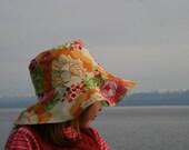 REVERSIBLE 3 sizes fancy sun hat