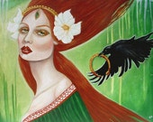 Deirdre of the Sorrows-Goddess Celtic Irish raven mythological 8x10 art print