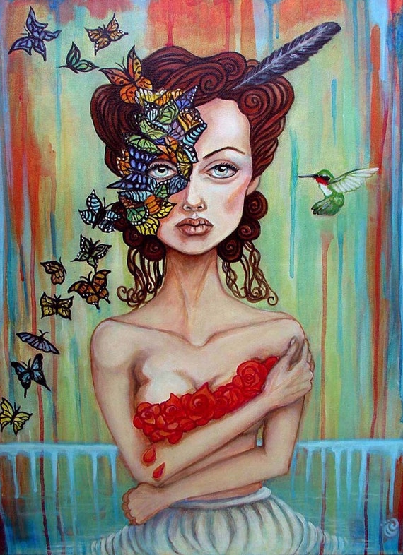 I Feel Fragile Today butterflies mask 8x10 art print