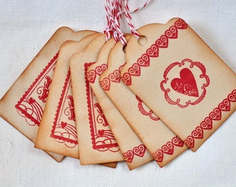 tea-stained Valentine's gift tags