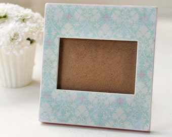 Pale Pink and Aqua wooden picture frame