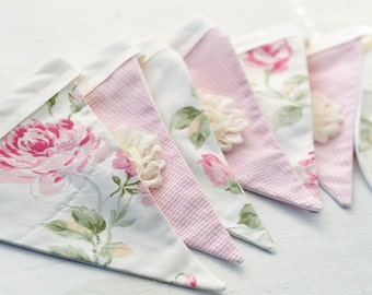 Fabric Bunting Banner shabby roses