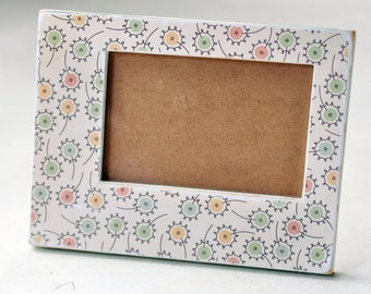 Wooden picture frame whimsy flowers