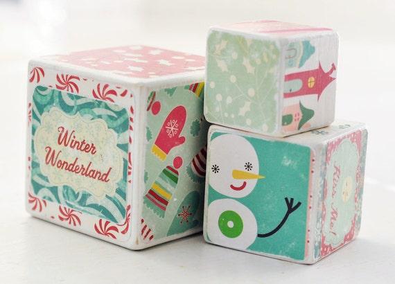 Winter Wonderland Whimsical Holiday Wooden Blocks