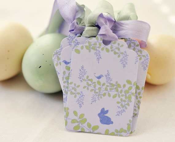 Easter Purple Green Rabbit Gift Tags