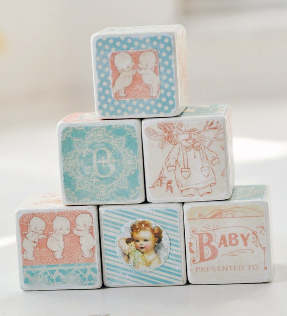Decorative wooden blocks Vintage Baby girl