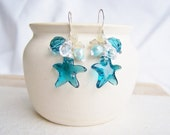 Atlantic Earrings - crystal, pearls and sterling silver