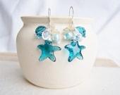 Atlantic Earrings - crystal, pearls and sterling silver