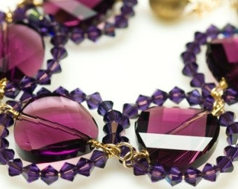 Iris statement necklace, glamorous crystal and 14K gold fill