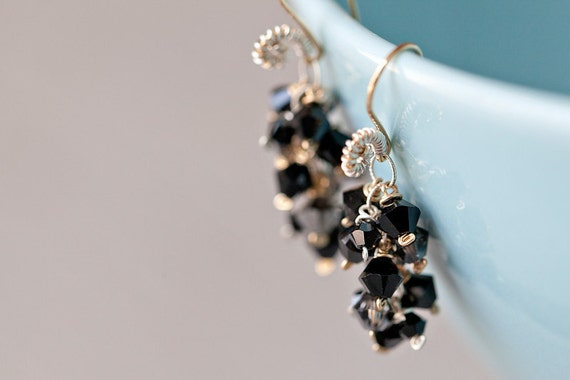 Butterfly - earrings, Swarovski crystal, sterling silver, 14K gold fill, wire wrapping