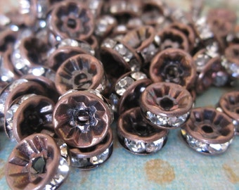 8 mm Vintage Patina Copper Czech Glass Rhinestone Rondelle Spacers - 20 pcs - Straight Edge - Channel Set - Central Coast Charms