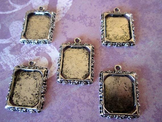Photo Frame Charm Pendant Blanks Rectangle Antique Silver Finish 5 pcs