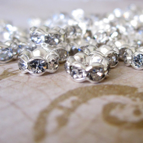 6 mm Silver Crystal Rhinestone Rondelle Spacers 10 pcs